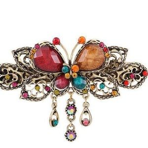 Vintage Style Butterfly Hair Barrette in Mixed